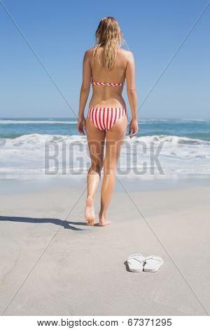 Fit woman in bikini walking towards the sea on a sunny day