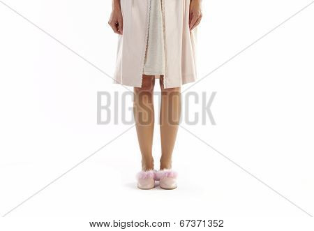 Woman Dressed In Pajama Isolated On White