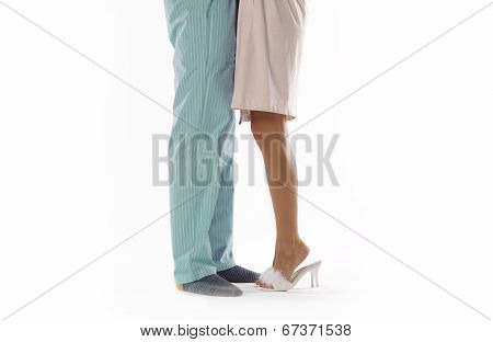 Man And Woman Dressed In Pyjama