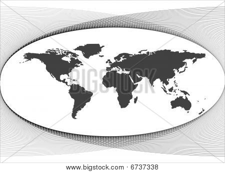 Black map of world with background