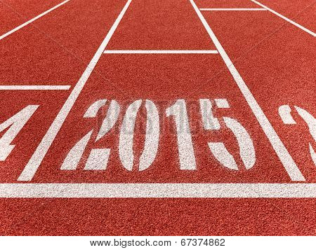 New year 2015 diggits on sport track with arrow. Good start, growing business concept.