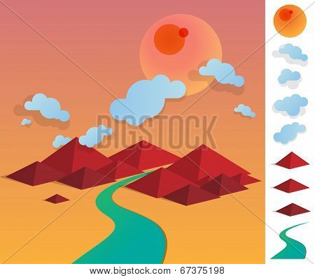 Illustration Of Geometric Landscape With River Betwen Hills