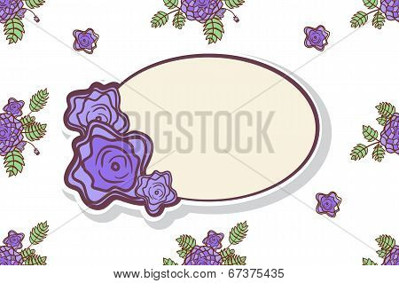 Retro frame with abstract roses