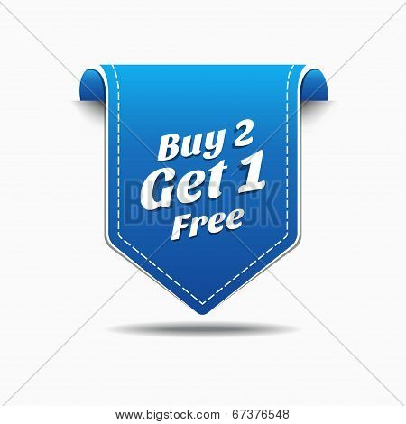 Buy 2 Get 1 Blue Label Icon Vector Design
