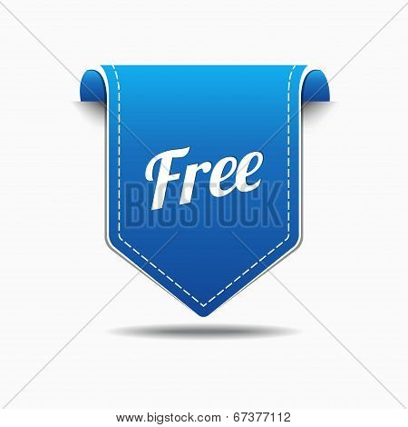 Free Product Blue Label Icon Vector Design
