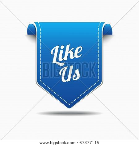 LIke Us Blue Label Icon Vector Design