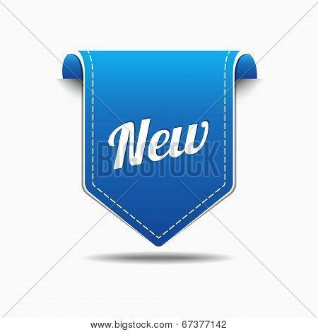 New Blue Label Icon Vector Button Design