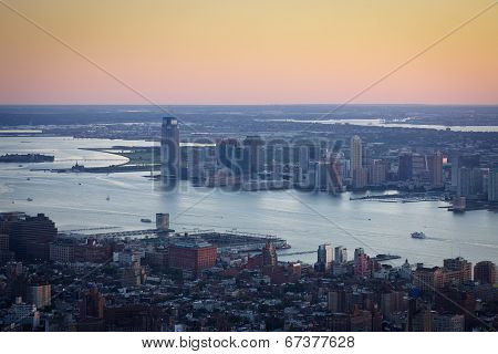 Sunset Over Manhattan, New York, And Downtown Jersey City