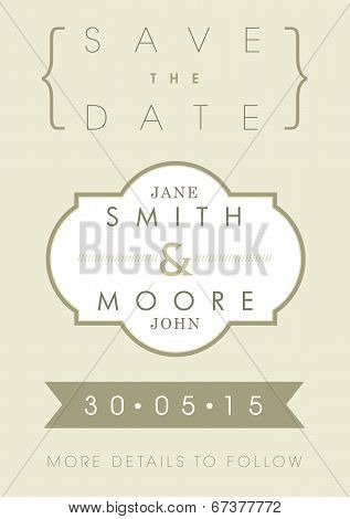 Save the date invitation gold ribbon theme