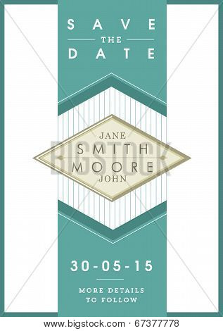 Save the date invitation green ribbon theme