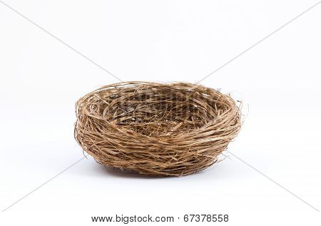 Empty Bird Nest On White Background