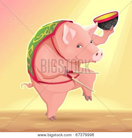 Funny pig with soup bowl and chinese sticks. Vector cartoon illustration