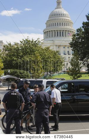United States Capitol  September 19th 2012 during a threat at the capital- Washington DC police on standby