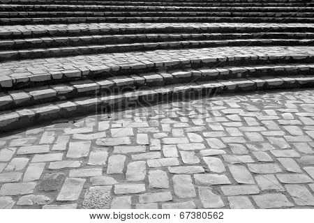 Curved Stone Brick Steps