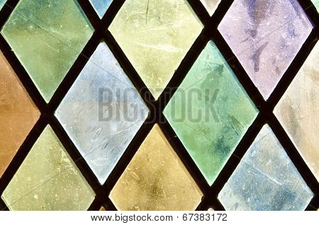 Closeup of a colored glass in the castle of Chaumont Sur Loire, Loire Valley, France