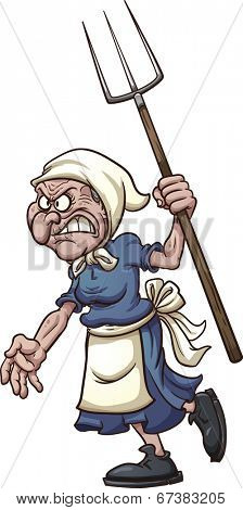 Angry old woman with pitchfork. Vector clip art illustration with simple gradients. All in  a single layer.