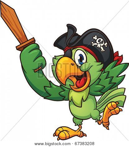 Pirate parrot holding  a wooden sword. Vector clip art illustration with simple gradients. All in a single layer.