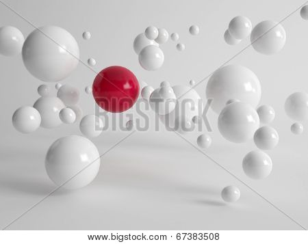 Single large red ball centered amongst numerous floating white balls in different sizes in a concept of uniqueness, quality, individuality and diversity