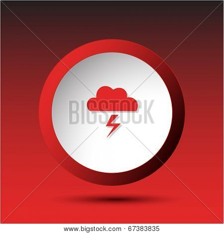 Storm. Plastic button. Vector illustration.