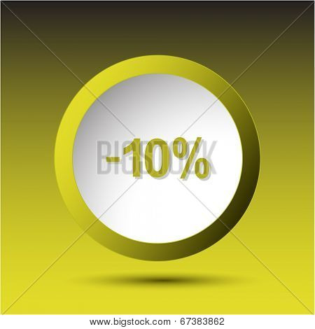 -10%. Plastic button. Vector illustration.