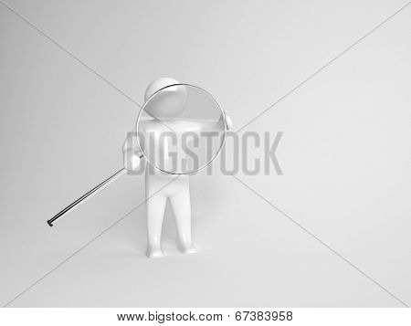 3d character carrying a circular silver metal magnifying glass on a grey background with copyspace conceptual of research and investigation