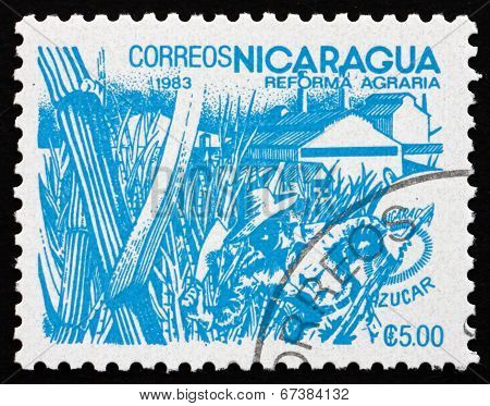 Postage Stamp Nicaragua 1983 Sugar Cane, Agrarian Reform