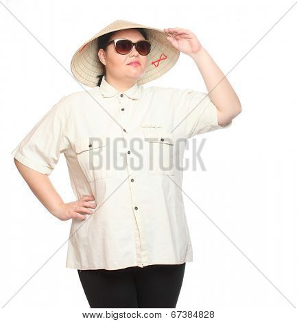 Plus size woman with sunglasses and bamboo hat. Sun protection concept.