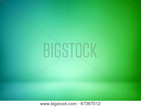 Abstract illustration background texture of beauty set with dark and light blue, azure, pistachio, cyan, turquoise, green, gradient wall and flat floor in empty spacious darken room interior