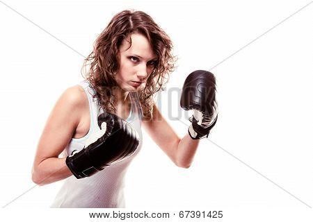 Sport Boxer Woman In Black Gloves. Fitness Girl Training Kick Boxing