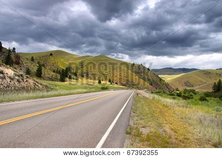 Scenic route through the hills in rural Montana
