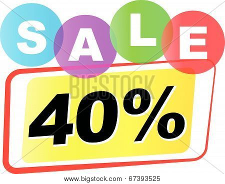 Vector Forty Percent Sale Icon