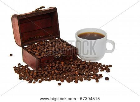 Chest with coffee grains and cup