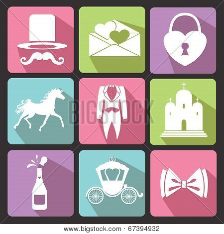 Wedding Flat Icons For Web And Mobile.vector