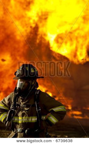 Fire fighter fiery background