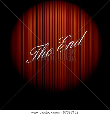 vector illustration of the end of the movie on red curtain