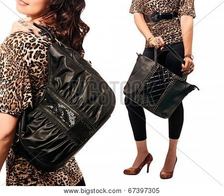 collage of a woman with black bags wearing leopard top. Isolated on the white studio background