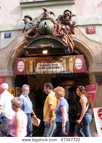 Prague, Czech Republic - June 15, 2006: Marionette Theater Entrance Decorated By Sculptures In Old T