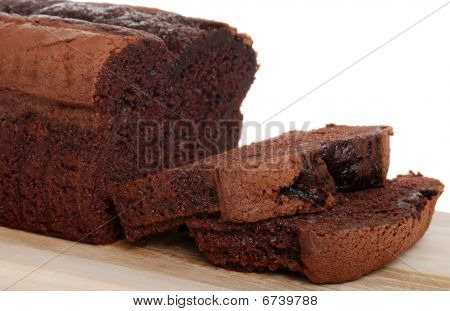 Belgium Chocolate Cake Loaf Focus On Slice