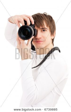 Photographer In White Holding Phone Camera