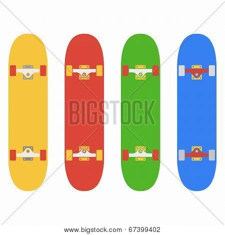 Skateboard, fingerboard icon set