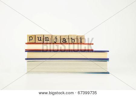 Punjabi Language Word On Wood Stamps And Books