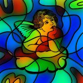 picture of cherub  - I have created this cloud cherub image digitally and tried to make it look like stained glass - JPG