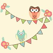 image of owls  - Vector birthday party card with ute owls hanging in flags - JPG