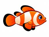 stock photo of clown fish  - Single cartoon clownfish on the white background - JPG