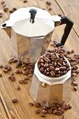 picture of pot roast  - Vintage Moka pot and fresh roasted coffee beans - JPG