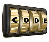 foto of restriction  - Code word in letters on a set of dials on a lock to illustrate confidential - JPG