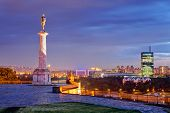 stock photo of fortified wall  - Belgrade fortress and Victor monument at night Belgrade Serbia
