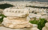 picture of akropolis  - Ancient Greek column capital at the Akropolis hill in Athens Greece - JPG