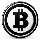 picture of bitcoin  - Vector illustration of black and chrome bitcoin icon - JPG