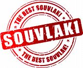 stock photo of souvlaki  - Vector illustration of best souvlaki red stamp concept - JPG